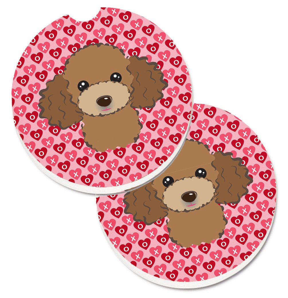Chocolate Brown Poodle Hearts Set of 2 Cup Holder Car Coasters BB5326CARC by Caroline's Treasures