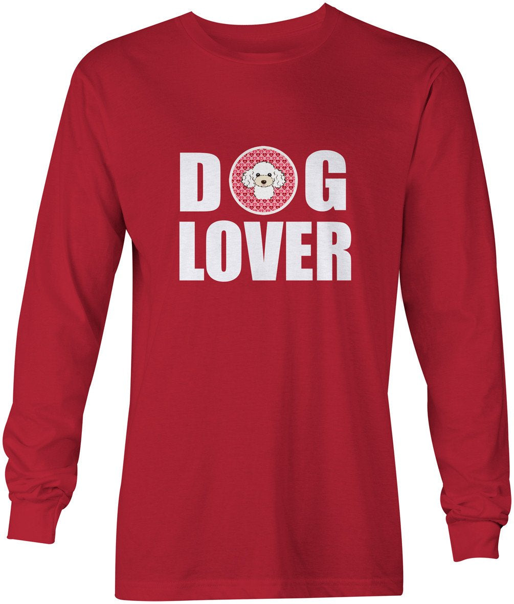 White Poodle Dog Lover Long Sleeve Red Unisex Tshirt Adult Double Extra Large BB5327-LS-RED-2XL by Caroline's Treasures