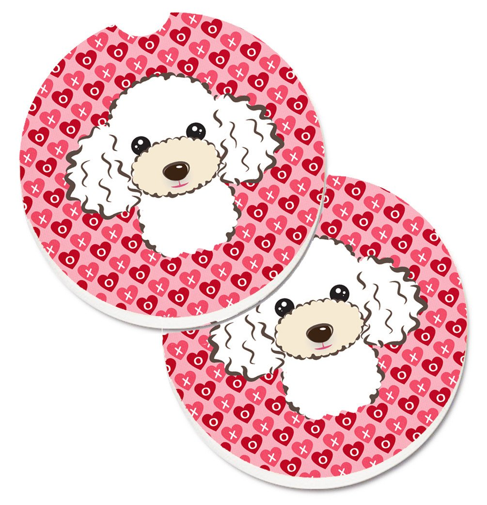 White Poodle Hearts Set of 2 Cup Holder Car Coasters BB5327CARC by Caroline's Treasures