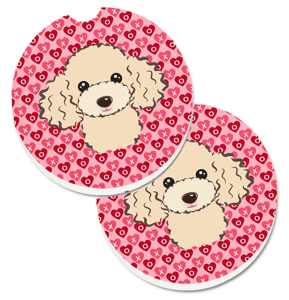 Buff Poodle Hearts Set of 2 Cup Holder Car Coasters BB5328CARC by Caroline's Treasures