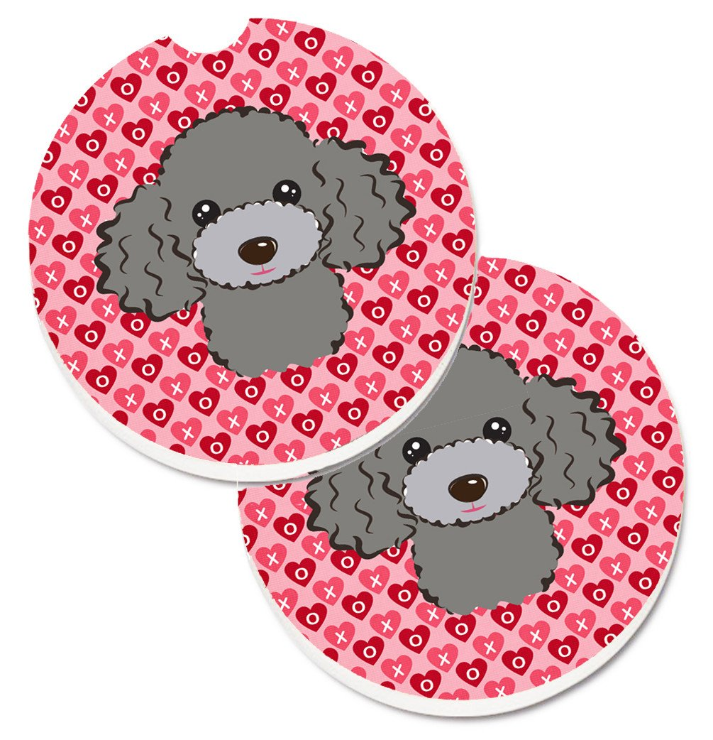 Silver Gray Poodle Hearts Set of 2 Cup Holder Car Coasters BB5329CARC by Caroline's Treasures
