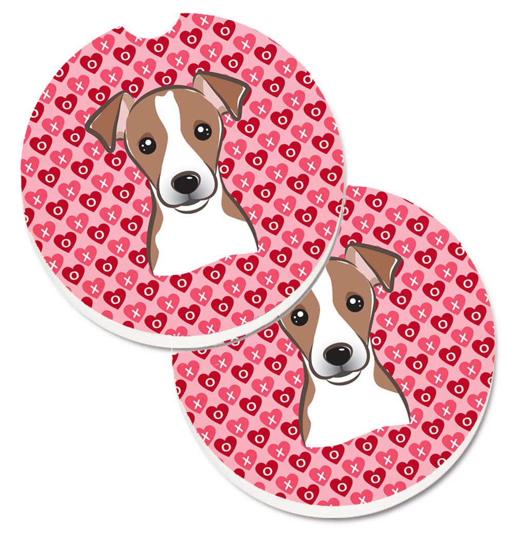 Jack Russell Terrier Hearts Set of 2 Cup Holder Car Coasters BB5330CARC by Caroline's Treasures