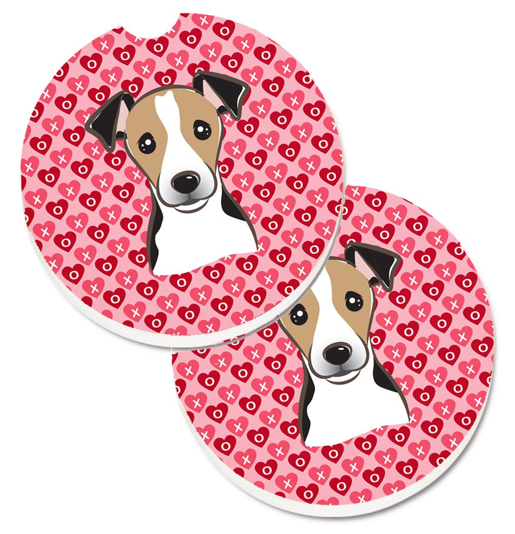 Jack Russell Terrier Hearts Set of 2 Cup Holder Car Coasters BB5331CARC by Caroline's Treasures