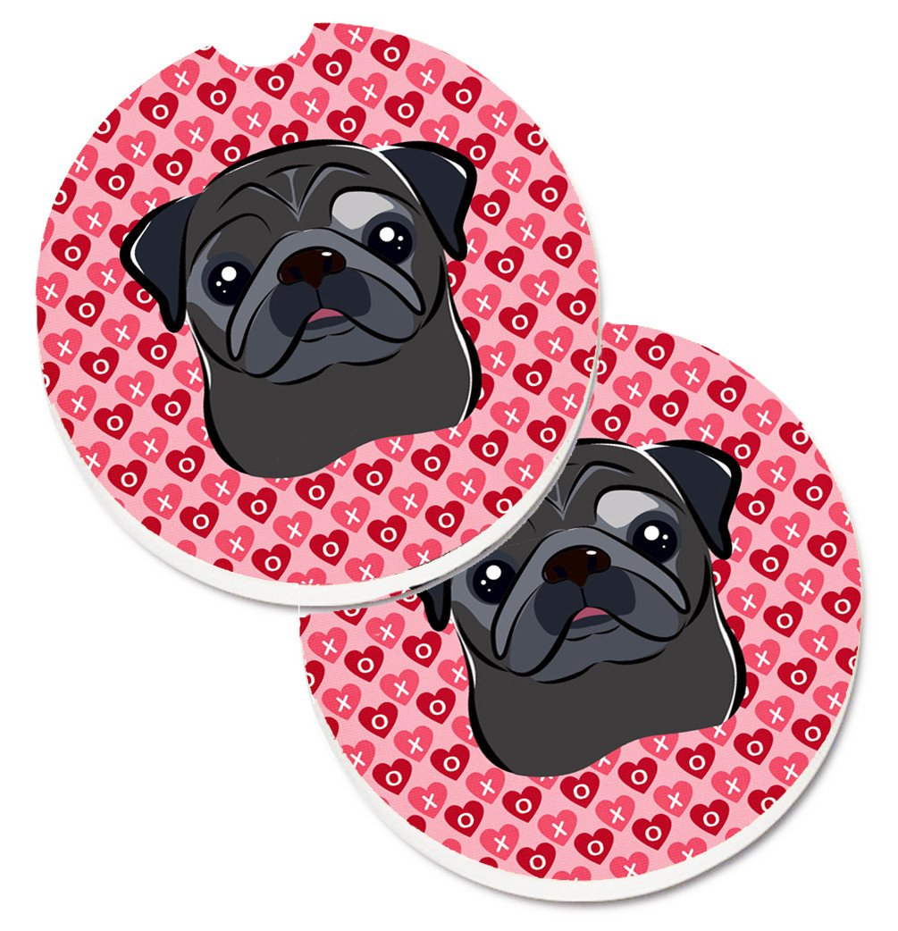 Black Pug Hearts Set of 2 Cup Holder Car Coasters BB5333CARC by Caroline's Treasures