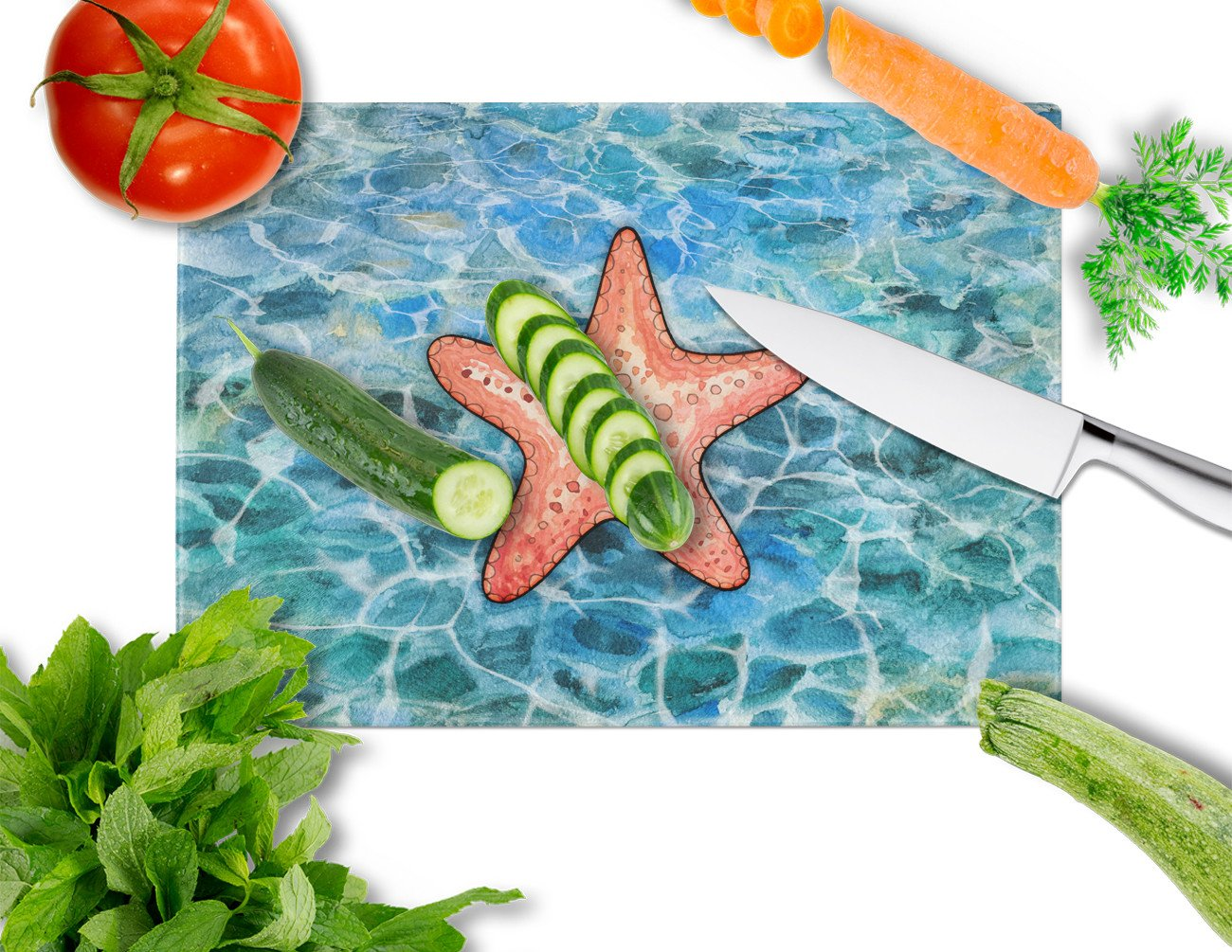 Starfish Glass Cutting Board Large BB5341LCB by Caroline's Treasures