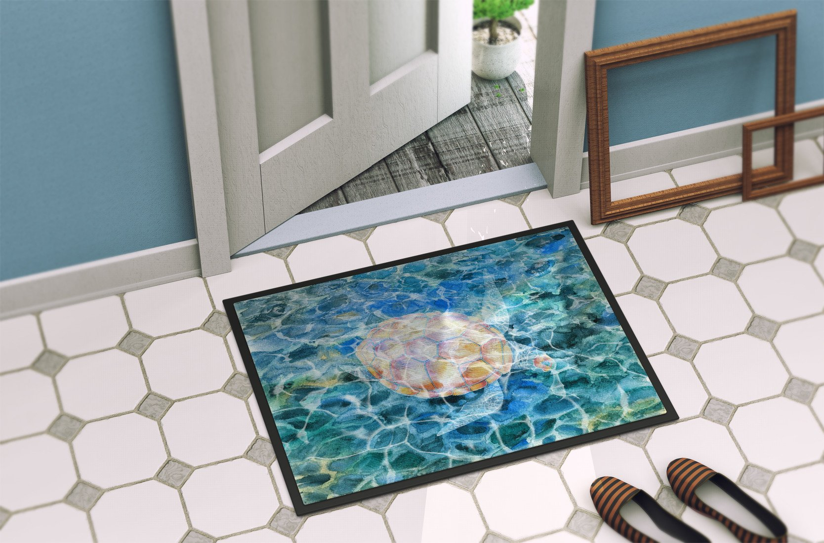 Sea Turtle Under water Indoor or Outdoor Mat 24x36 BB5363JMAT by Caroline's Treasures