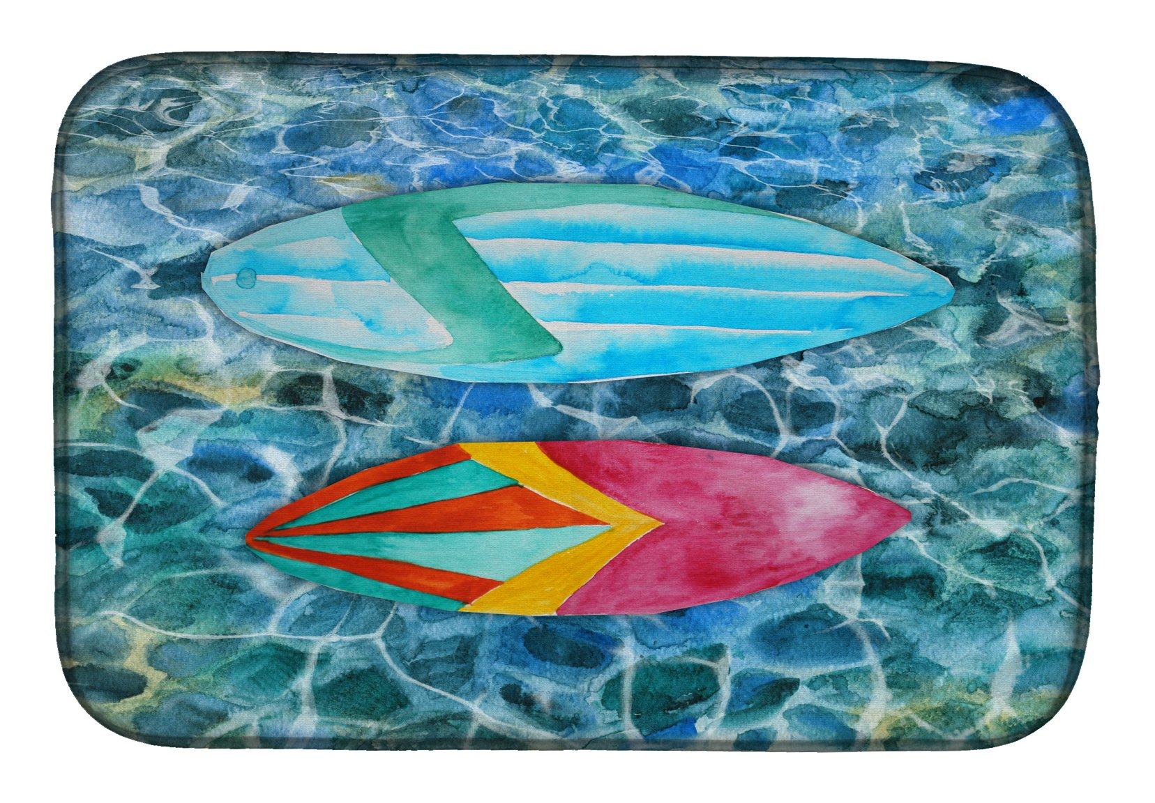 Surf Boards on the Water Dish Drying Mat BB5366DDM by Caroline's Treasures