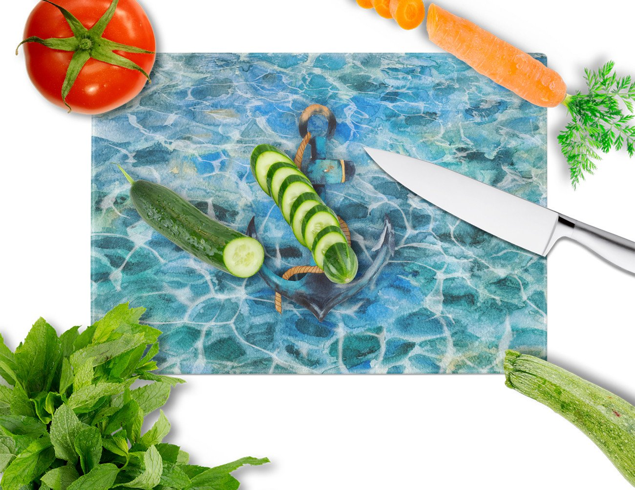 Anchor and Rope Glass Cutting Board Large BB5370LCB by Caroline's Treasures