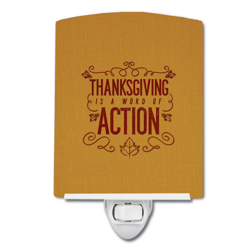 Thanksgiving is Action Ceramic Night Light BB5458CNL by Caroline's Treasures
