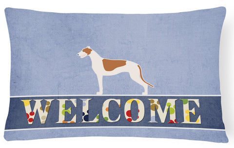 Buy this Greyhound Welcome Canvas Fabric Decorative Pillow BB5509PW1216