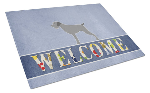 Buy this German Wirehaired Pointer Welcome Glass Cutting Board Large BB5515LCB