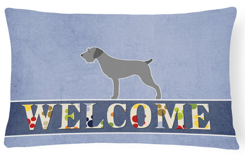 Buy this German Wirehaired Pointer Welcome Canvas Fabric Decorative Pillow BB5515PW1216