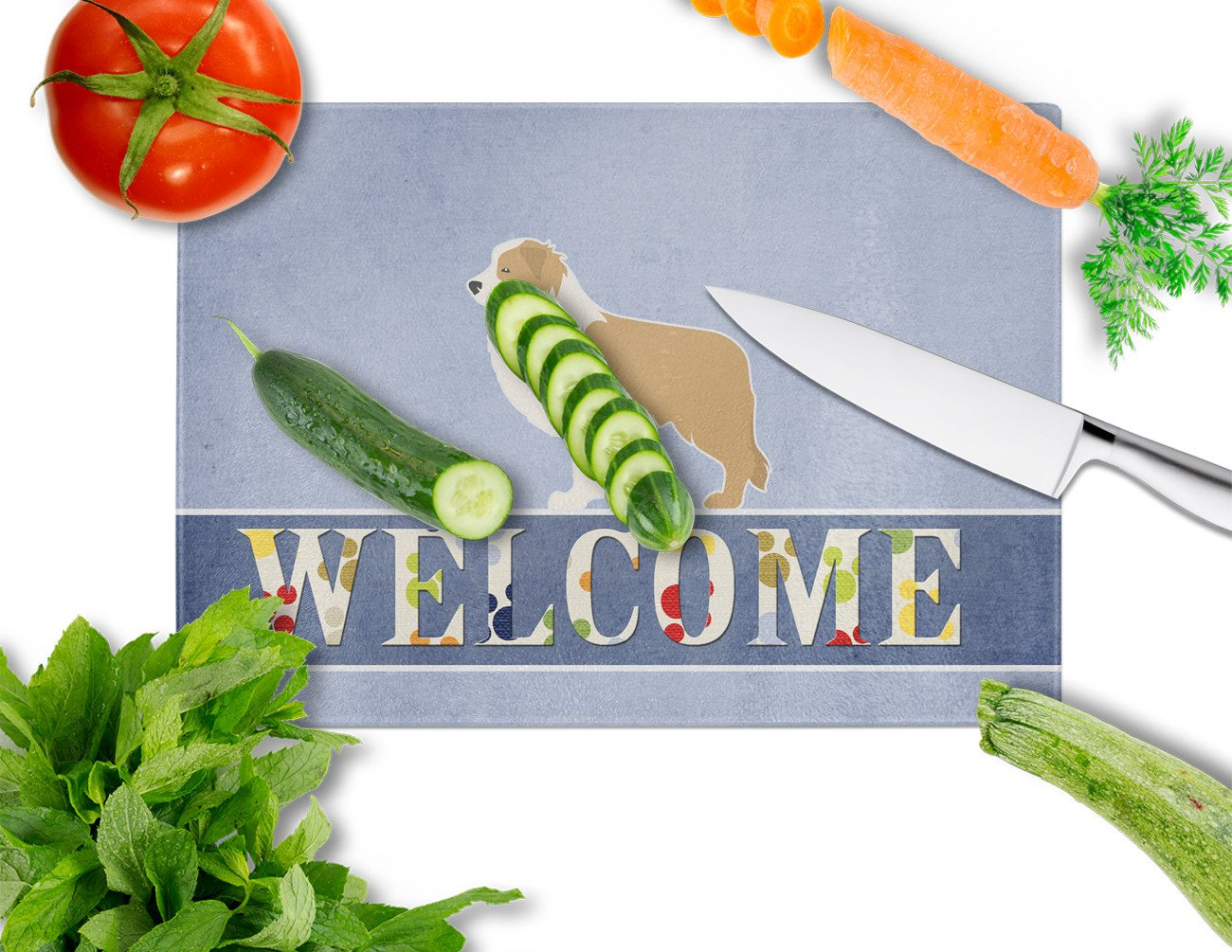 Red Border Collie Welcome Glass Cutting Board Large BB5526LCB by Caroline's Treasures