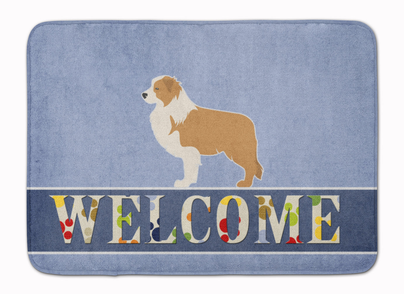 Red Border Collie Welcome Machine Washable Memory Foam Mat BB5526RUG by Caroline's Treasures