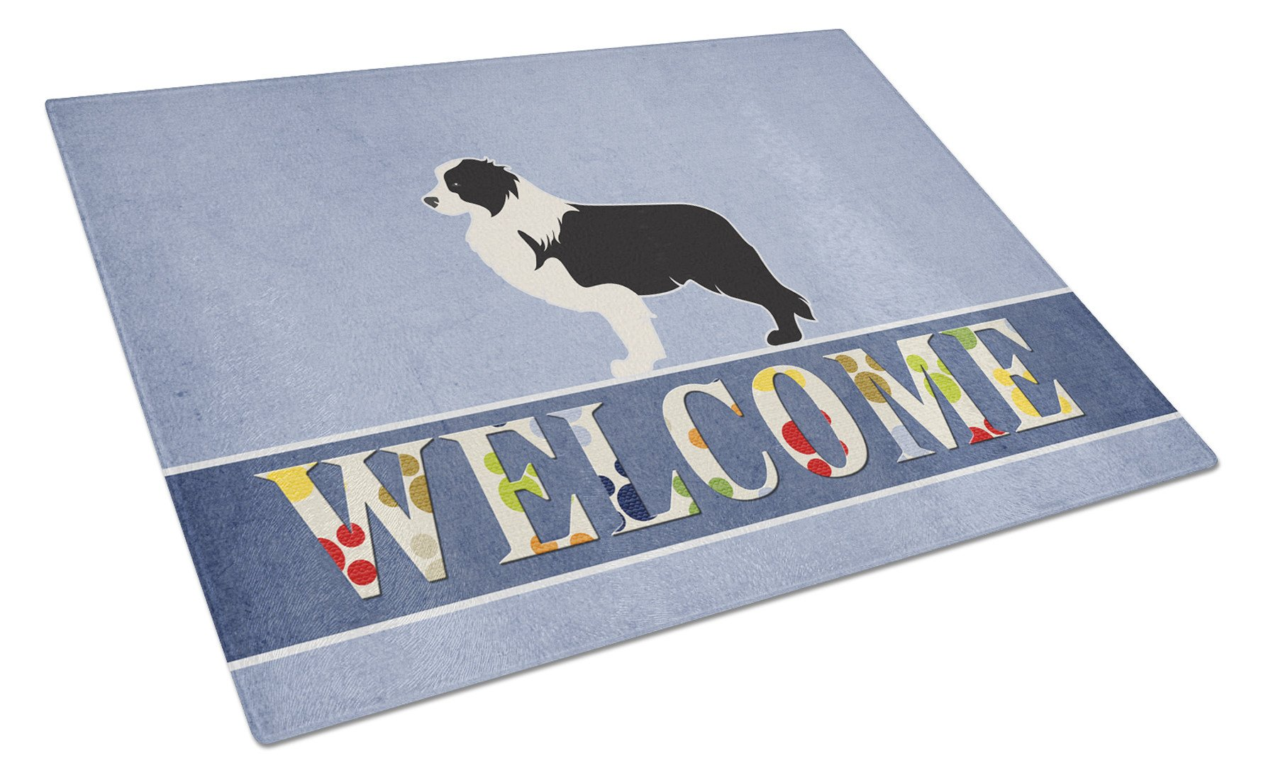 Black Border Collie Welcome Glass Cutting Board Large BB5527LCB by Caroline's Treasures