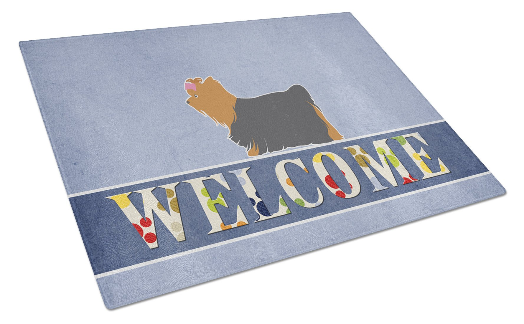 Yorkshire Terrier Yorkie Welcome Glass Cutting Board Large BB5538LCB by Caroline's Treasures