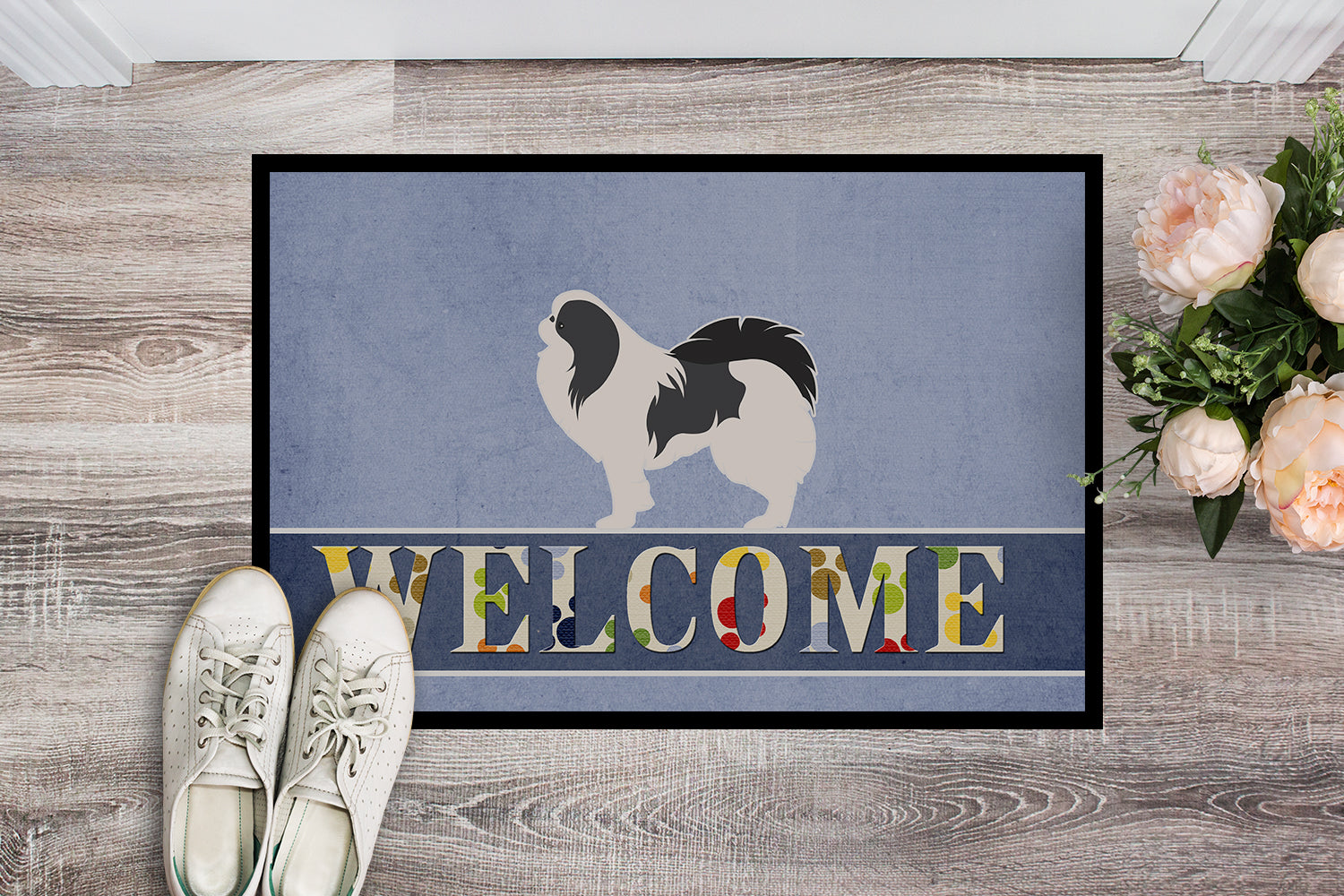 Japanese Chin Welcome Indoor or Outdoor Mat 18x27 BB5541MAT by Caroline's Treasures