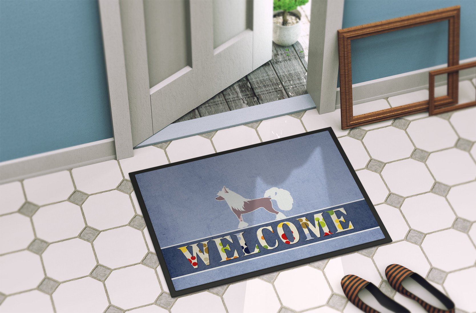 Chinese Crested Welcome Indoor or Outdoor Mat 24x36 BB5547JMAT by Caroline's Treasures