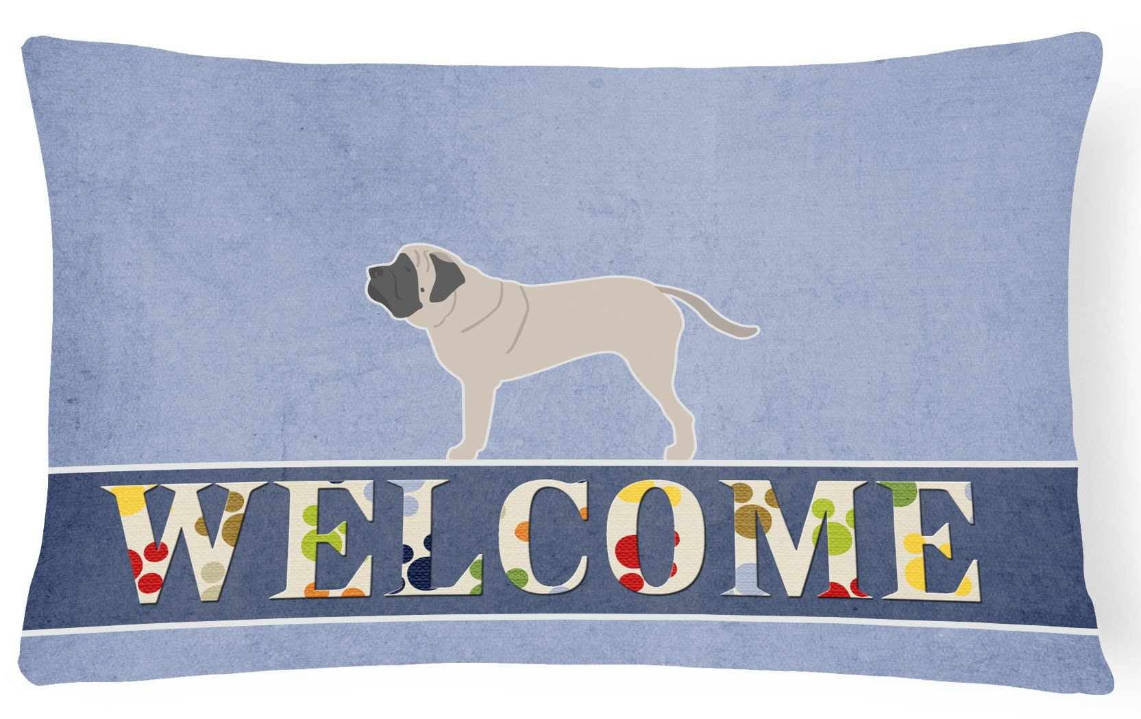 English Mastiff Welcome Canvas Fabric Decorative Pillow BB5560PW1216 by Caroline's Treasures