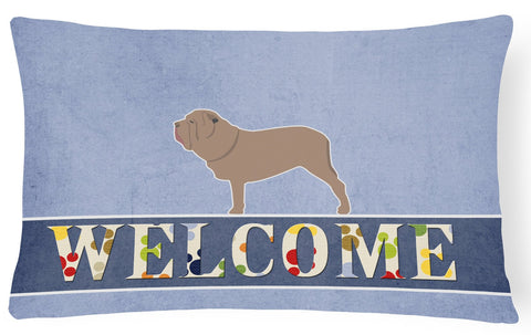 Buy this Neapolitan Mastiff Welcome Canvas Fabric Decorative Pillow BB5569PW1216