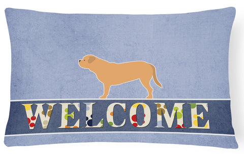 Buy this Dogue de Bordeaux Welcome Canvas Fabric Decorative Pillow BB5574PW1216