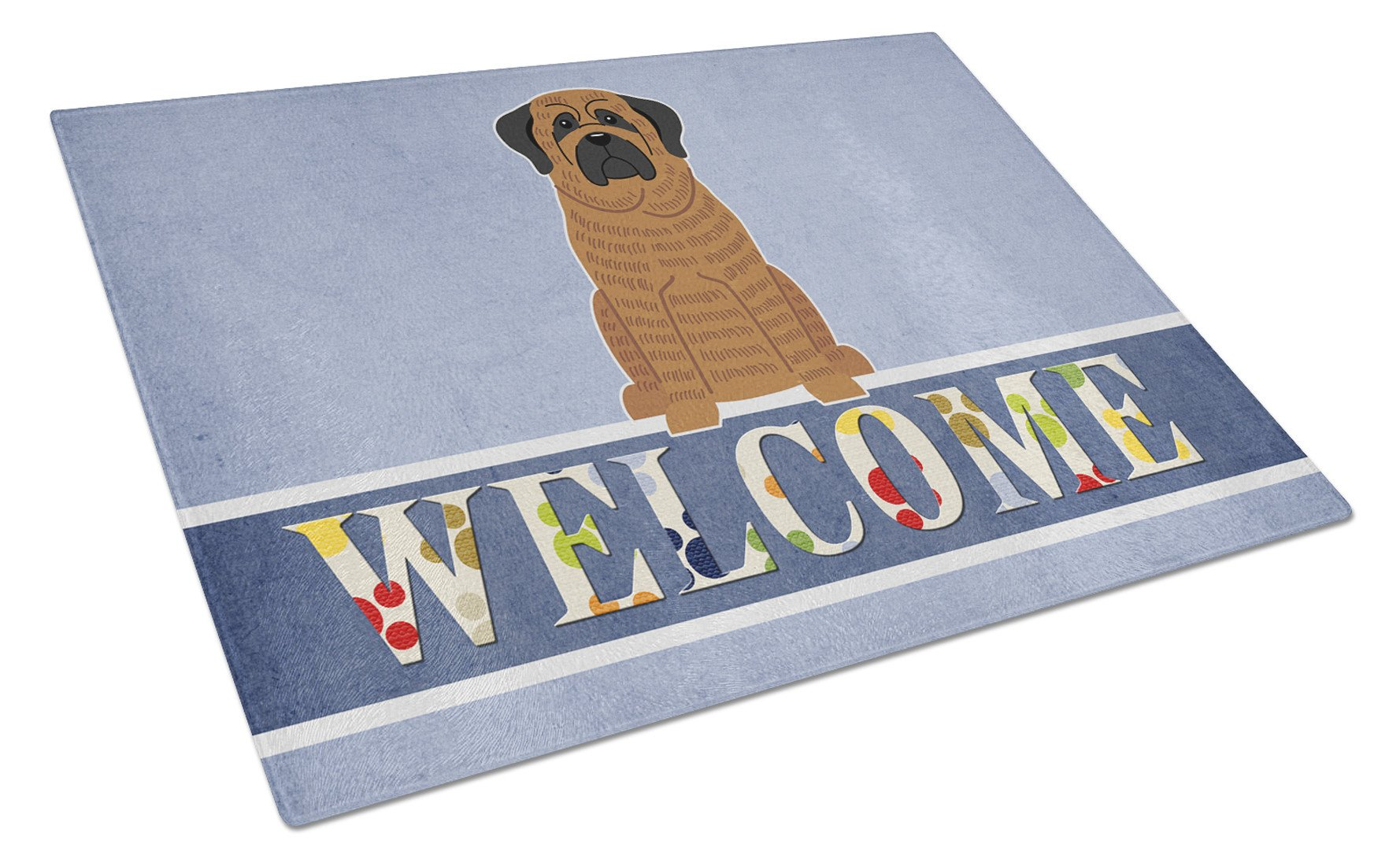 Mastiff Brindle Welcome Glass Cutting Board Large BB5596LCB by Caroline's Treasures
