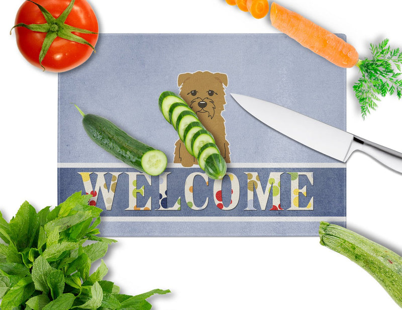 Buy this Glen of Imal Tan Welcome Glass Cutting Board Large BB5641LCB