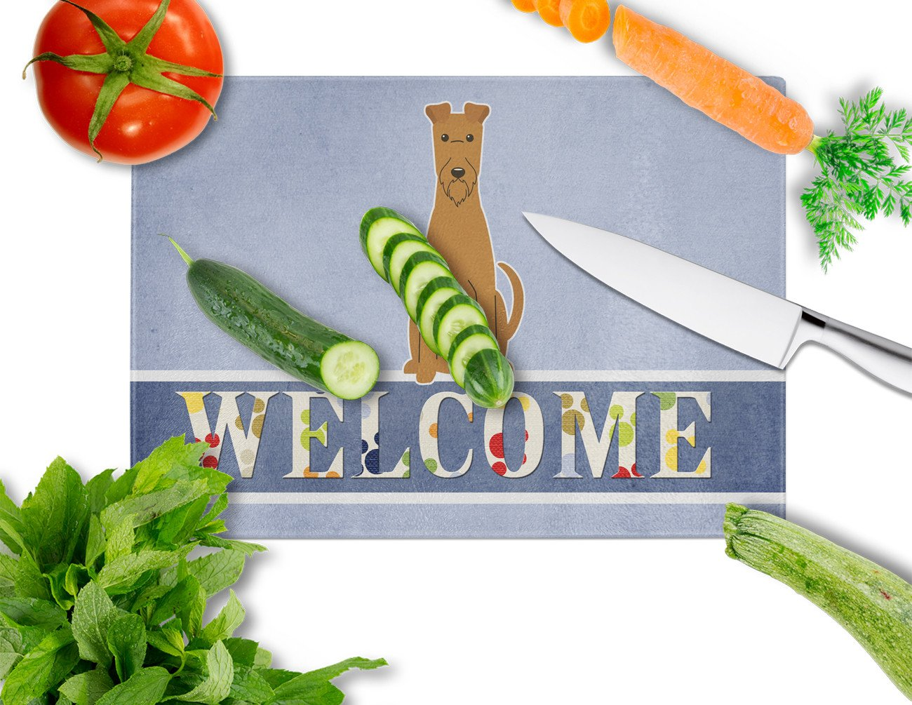 Irish Terrier Welcome Glass Cutting Board Large BB5643LCB by Caroline's Treasures