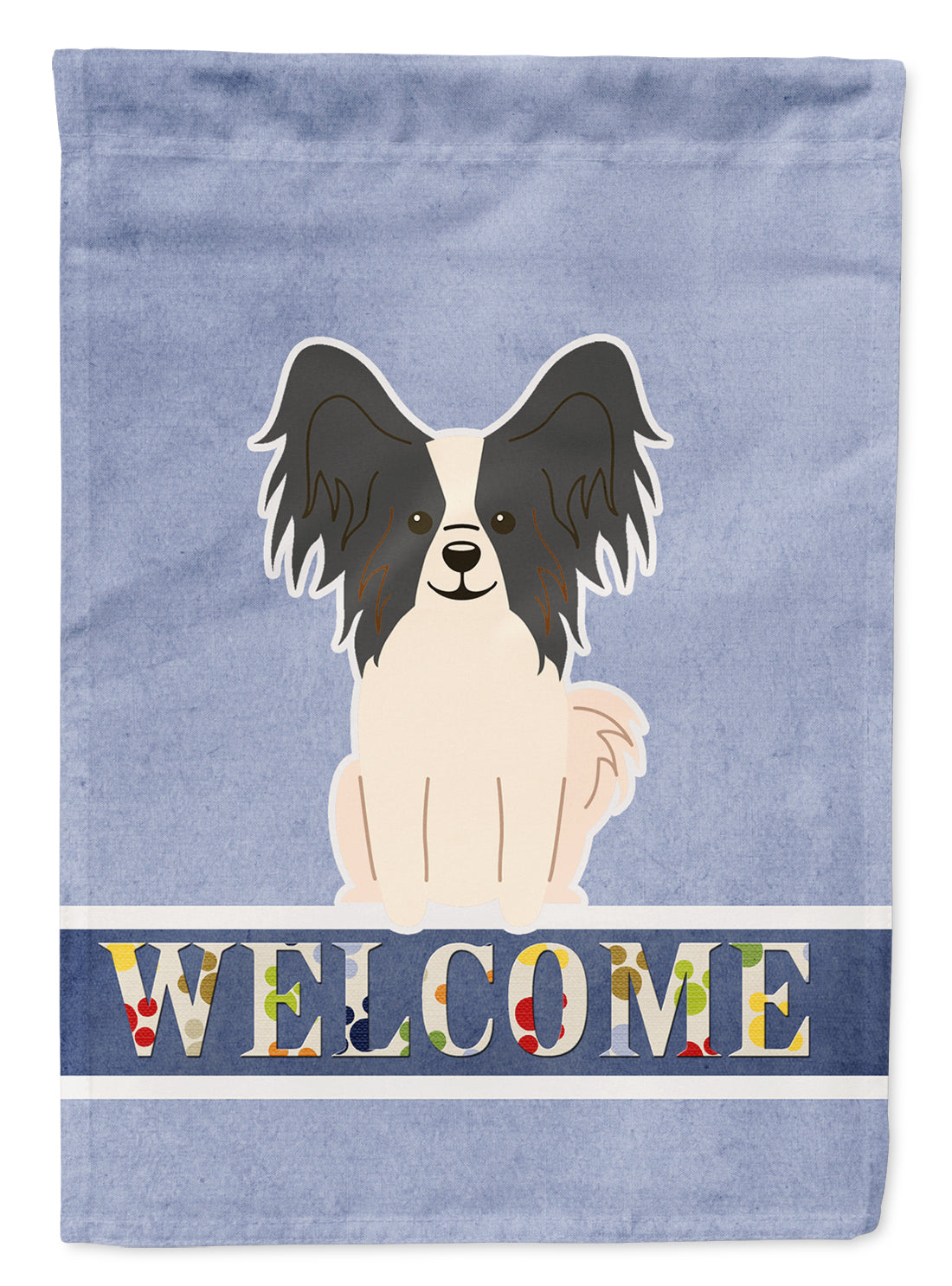 Buy this Papillon Black White Welcome Flag Garden Size BB5657GF