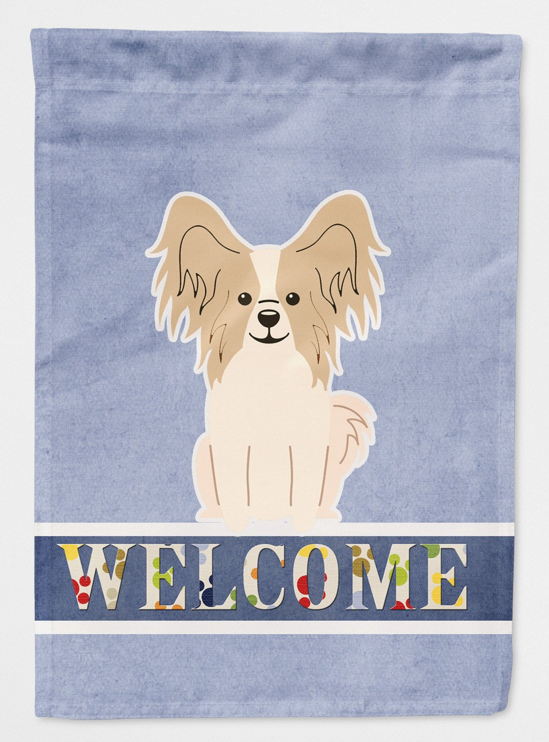 Buy this Papillon Sable White Welcome Flag Garden Size BB5658GF