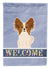 Buy this Papillon Red White Welcome Flag Garden Size BB5659GF