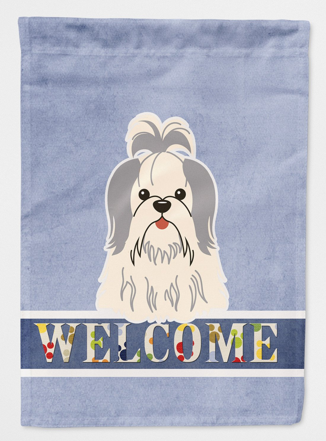 Buy this Shih Tzu Silver White Welcome Flag Garden Size BB5666GF