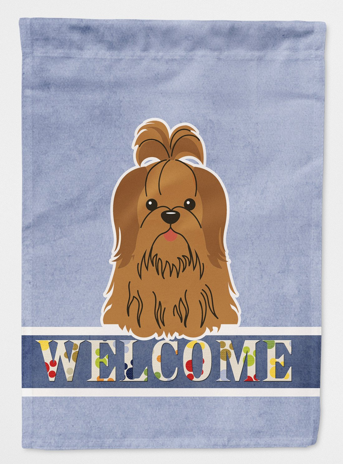 Buy this Shih Tzu Silver Chocolate Welcome Flag Garden Size BB5667GF