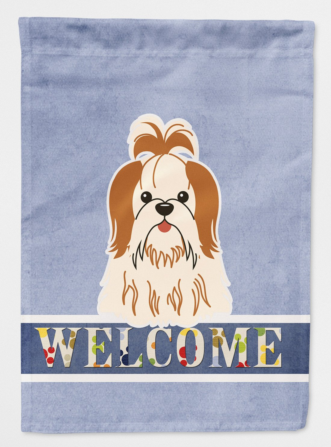 Buy this Shih Tzu Red White Welcome Flag Garden Size BB5668GF
