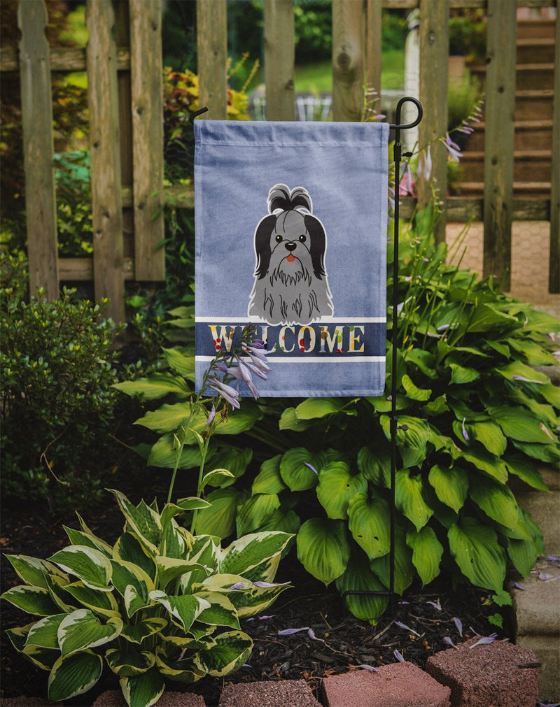 Buy this Shih Tzu Black Silver Welcome Flag Garden Size BB5670GF