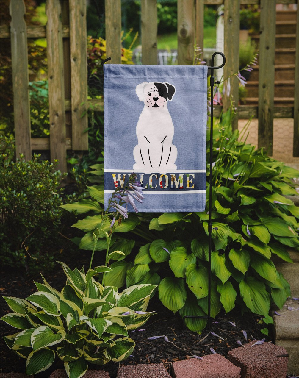 White Boxer Cooper Welcome Flag Garden Size BB5695GF by Caroline's Treasures