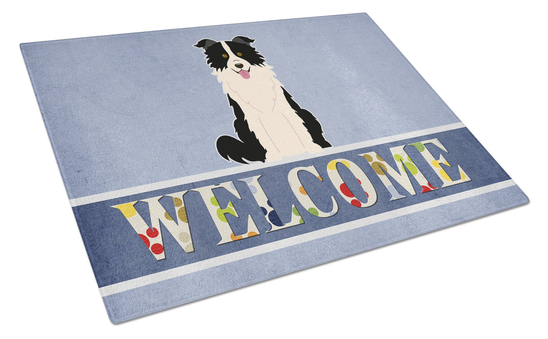 Border Collie Black White Welcome Glass Cutting Board Large BB5699LCB by Caroline's Treasures