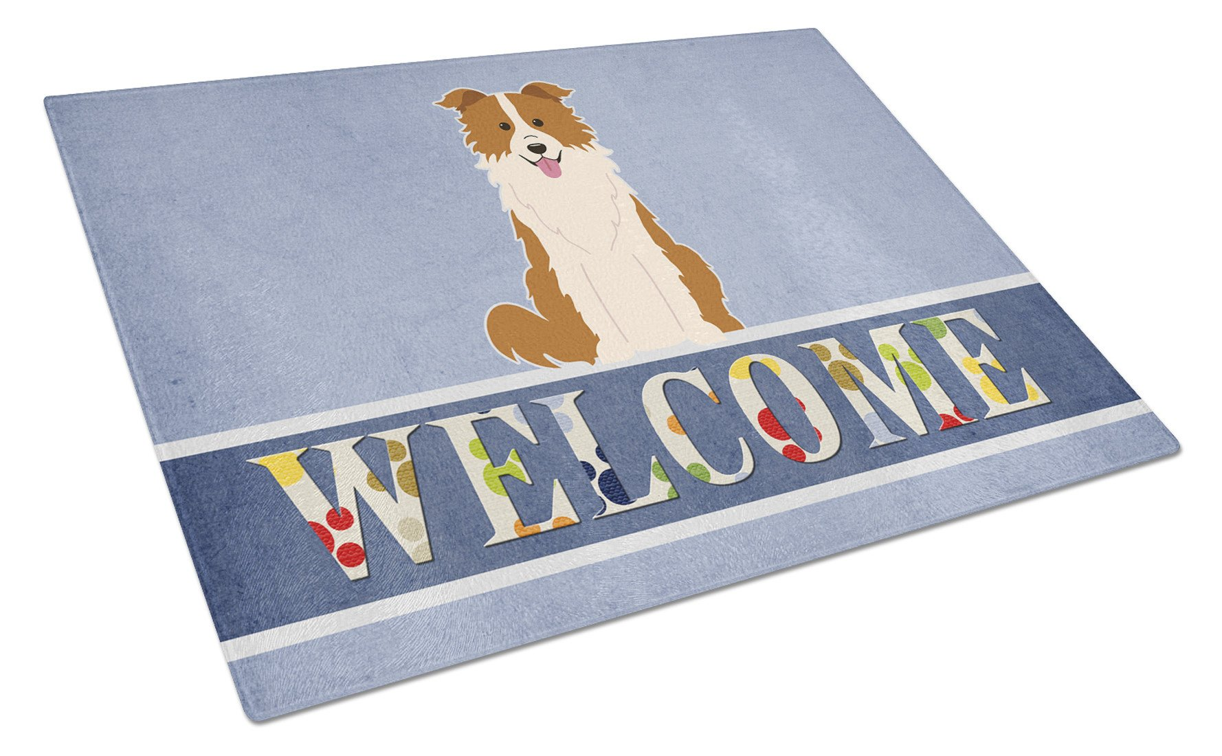 Border Collie Red White Welcome Glass Cutting Board Large BB5700LCB by Caroline's Treasures