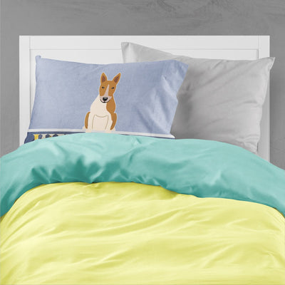 Bull Terrier Red White Welcome Fabric Standard Pillowcase BB5716PILLOWCASE - the-store.com