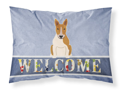 Buy this Bull Terrier Red White Welcome Fabric Standard Pillowcase BB5716PILLOWCASE