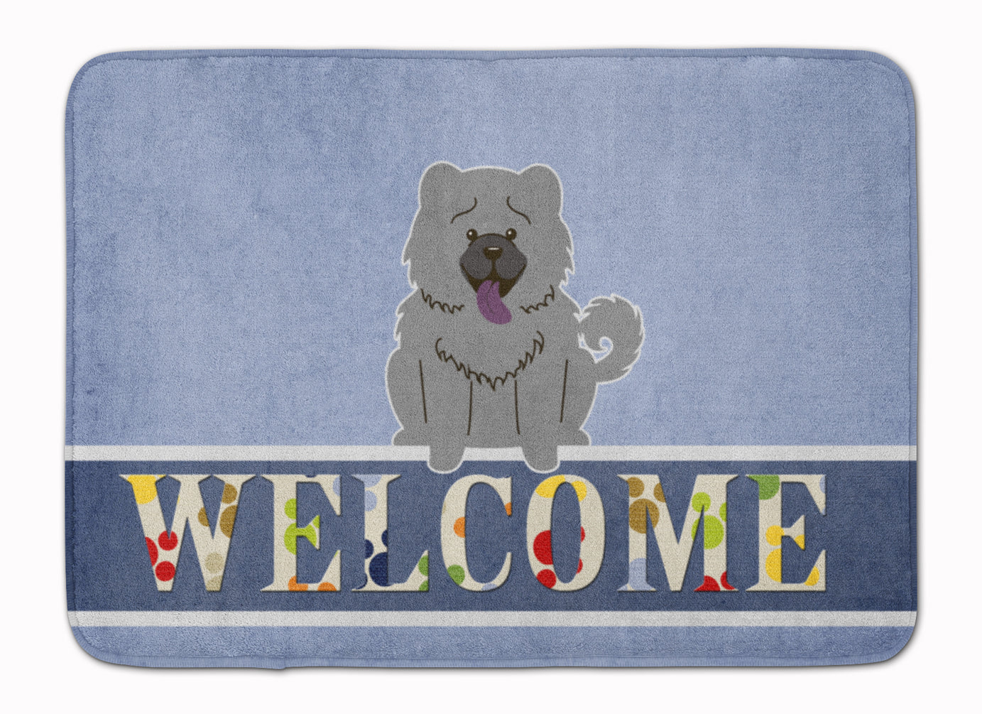 Chow Chow Blue Welcome Machine Washable Memory Foam Mat BB5720RUG by Caroline's Treasures
