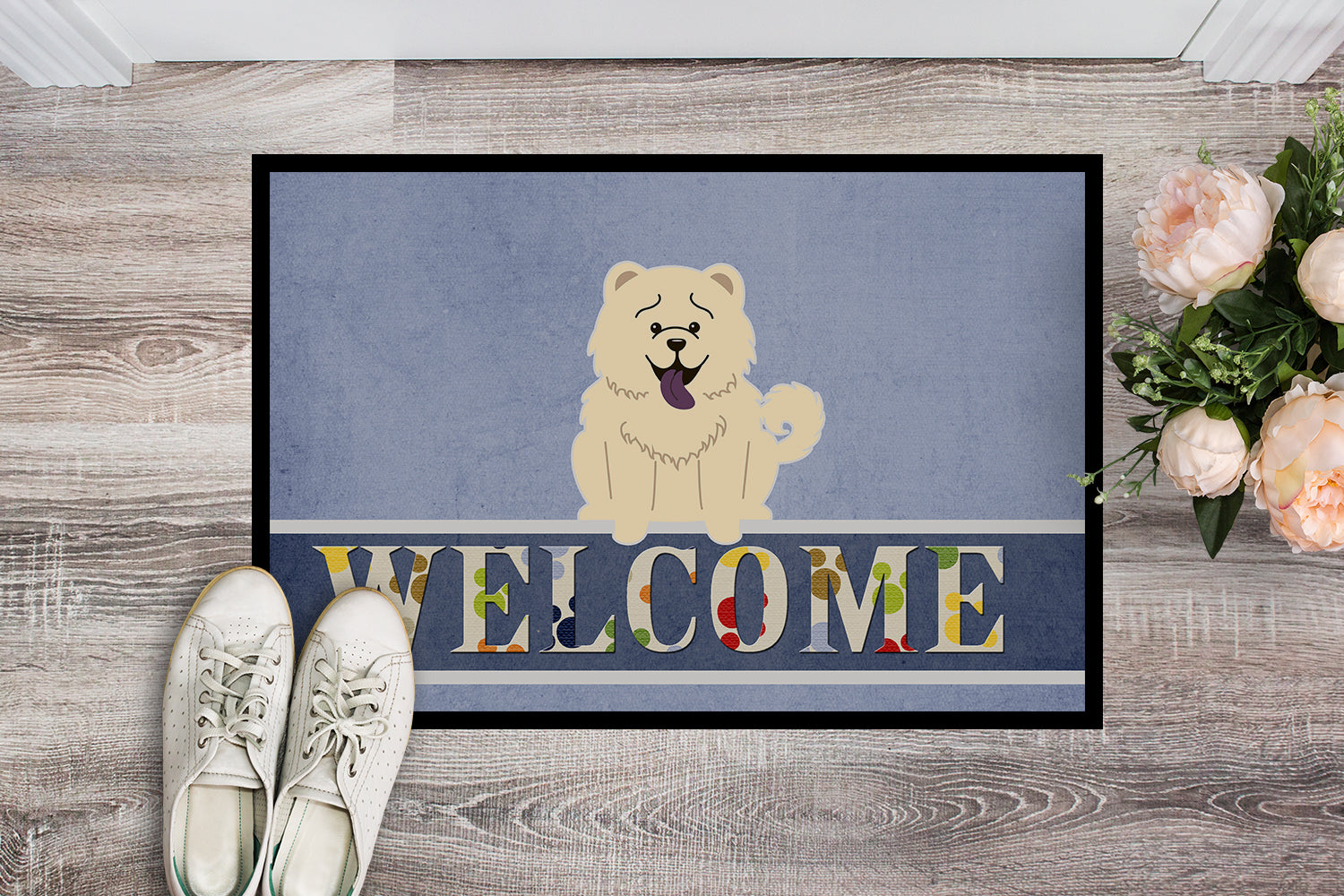 Chow Chow White Welcome Indoor or Outdoor Mat 18x27 BB5721MAT by Caroline's Treasures