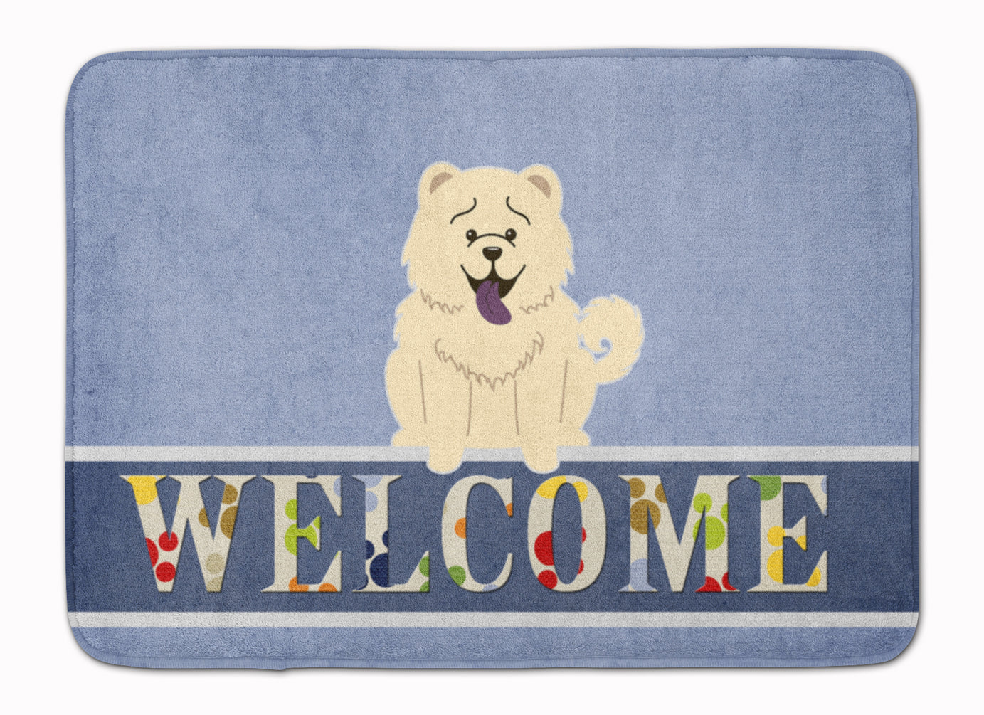 Chow Chow White Welcome Machine Washable Memory Foam Mat BB5721RUG by Caroline's Treasures