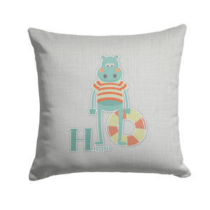Buy this Alphabet H for Hippopotamus Fabric Decorative Pillow BB5733PW1414