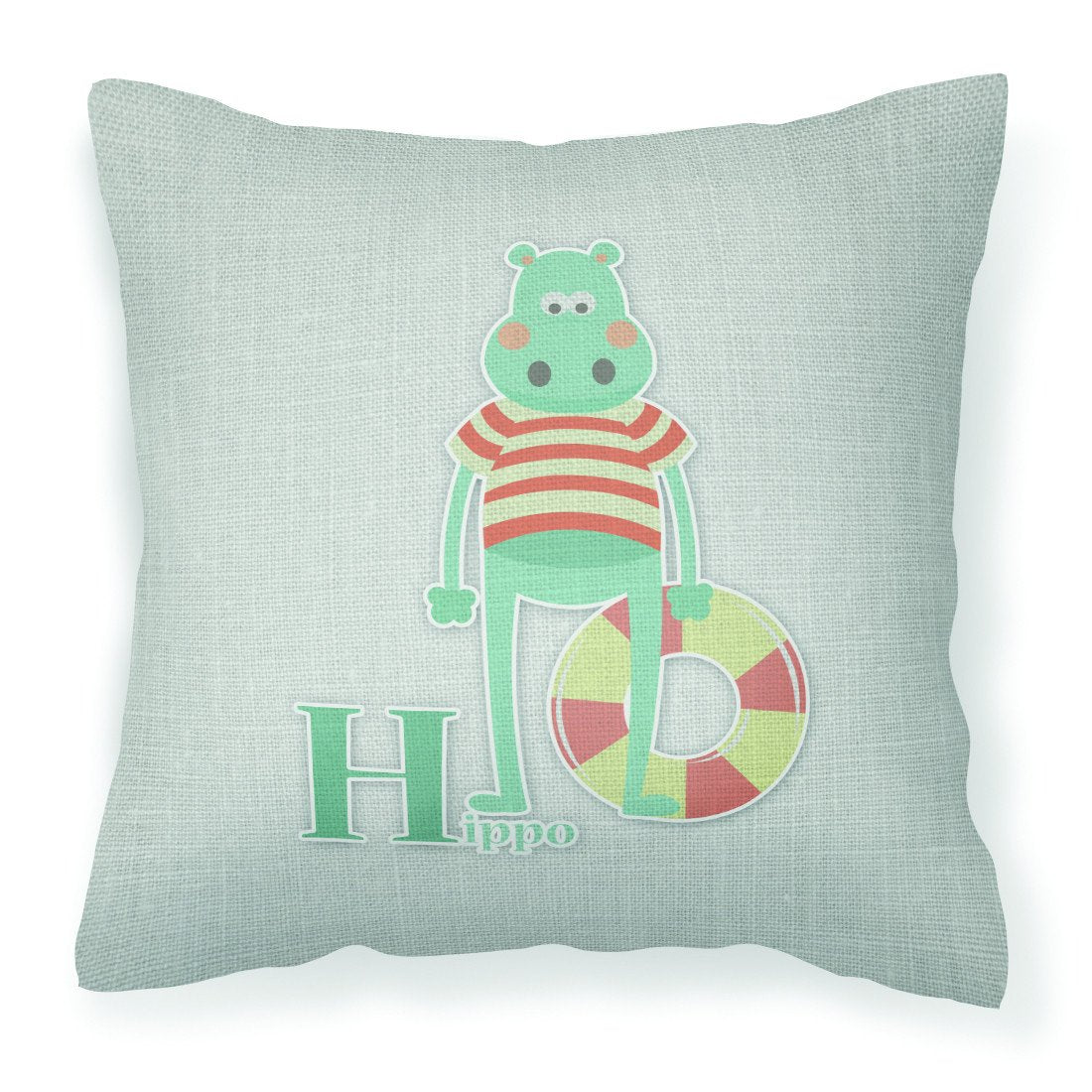 Buy this Alphabet H for Hippopotamus Fabric Decorative Pillow BB5733PW1818