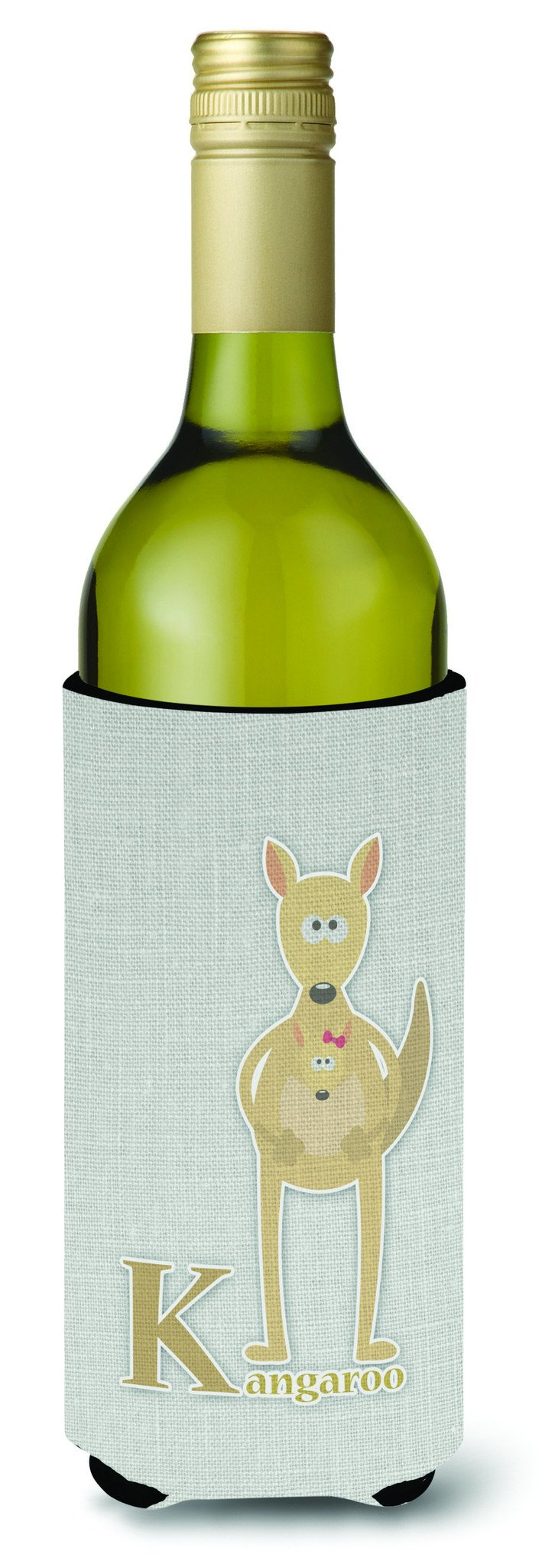 Buy this Alphabet K for Kangaroo Wine Bottle Beverge Insulator Hugger BB5736LITERK