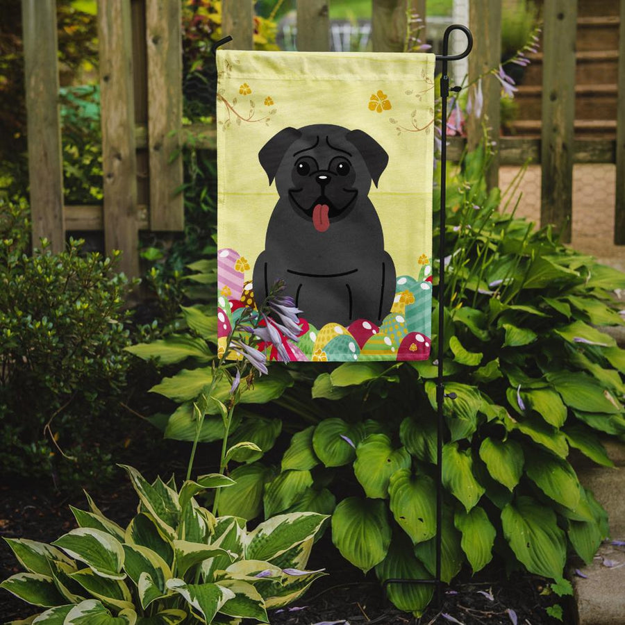 Buy this Easter Eggs Pug Black Flag Garden Size BB6006GF