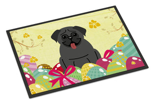 Buy this Easter Eggs Pug Black Indoor or Outdoor Mat 24x36 BB6006JMAT