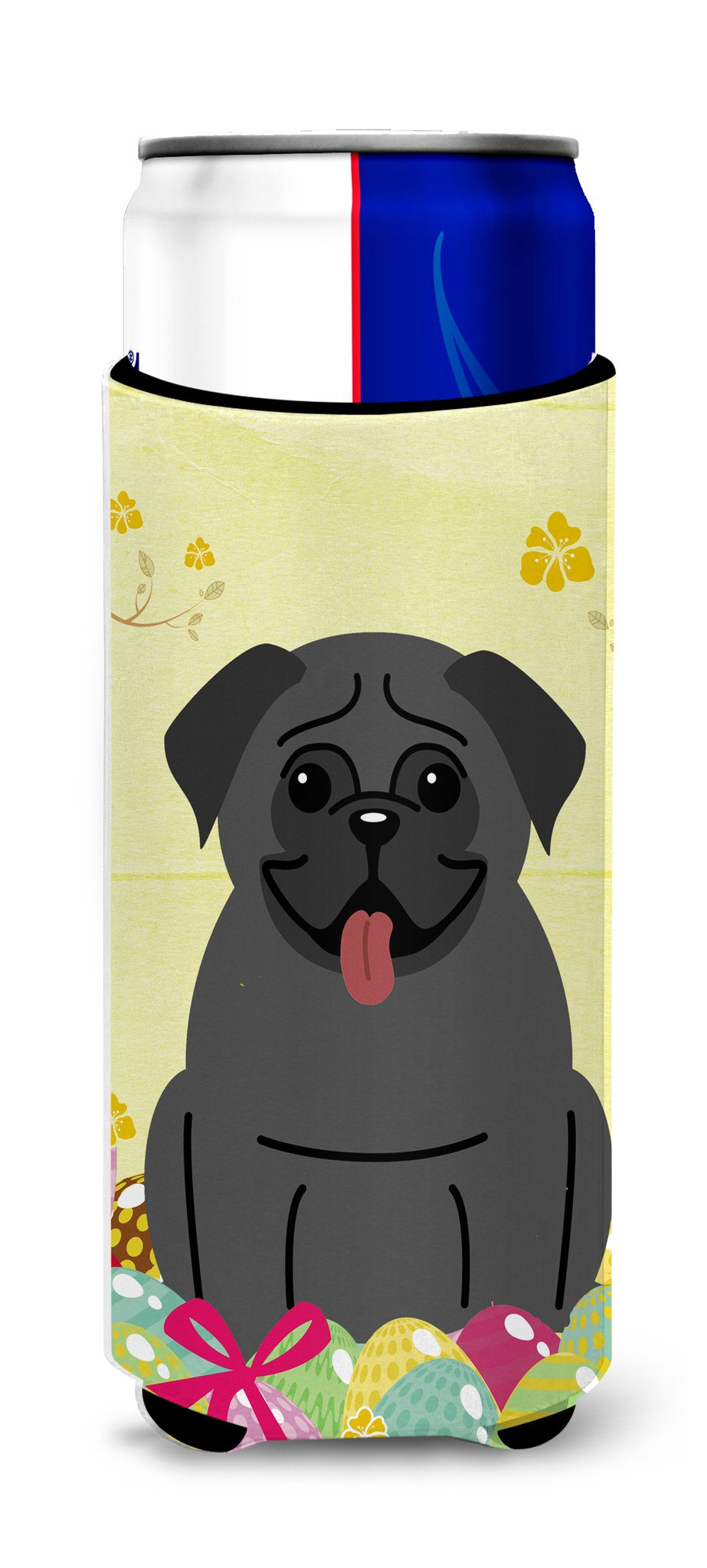 Easter Eggs Pug Black Michelob Ultra Hugger for slim cans BB6006MUK by Caroline's Treasures