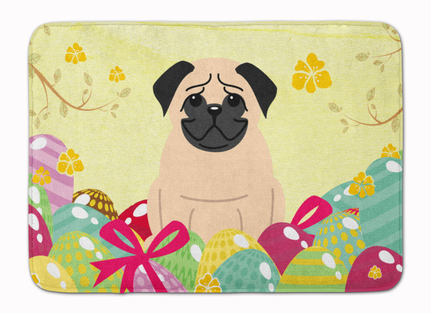 Easter Eggs Pug Fawn Machine Washable Memory Foam Mat BB6008RUG by Caroline's Treasures